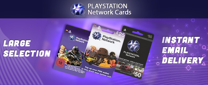 Playstation Network Cards. Large Selection. Instant Email Delivery.